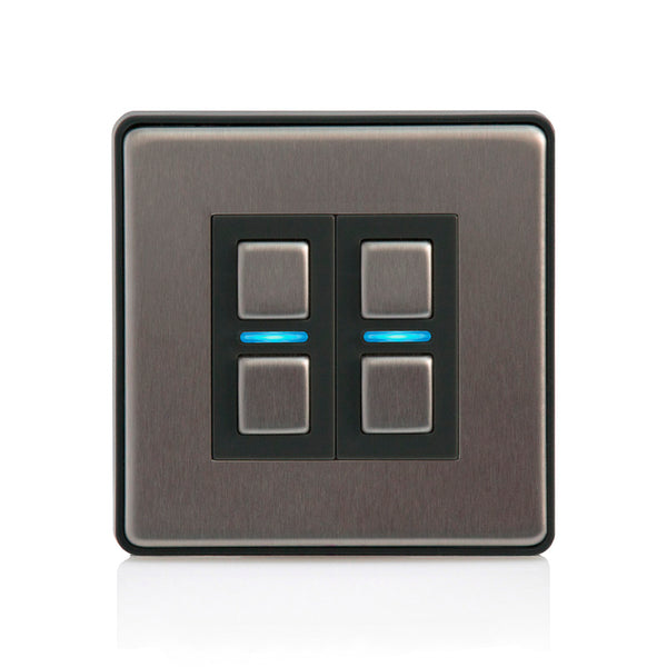 Lightwave 2 Gang Smart Dimmer Stainless Steel - L22