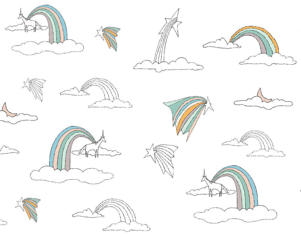 RAINBOWS AND UNICORNS PASTEL DUVAR KAĞIDI Illustration by Deniz Yeğin İkiışık