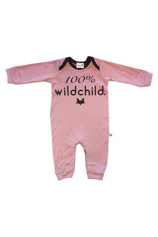 Pink 100% wildchild baby long sleeve romper, made from 100% cotton
