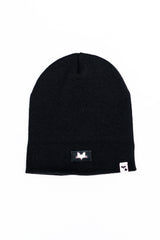 One size black beanie hat with logo small fox head design label detail