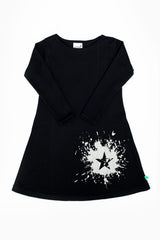 Long Sleeve Black 100% cotton A-line dress with silver ink splat design on bottom left corner
