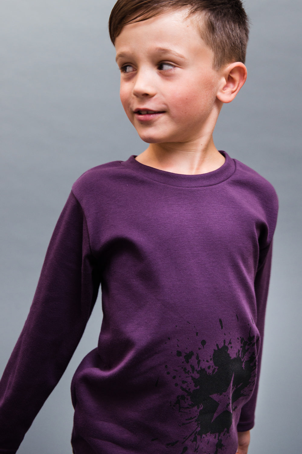 Plum coloured long sleeve t-shirt 100% cotton with ink splat star design