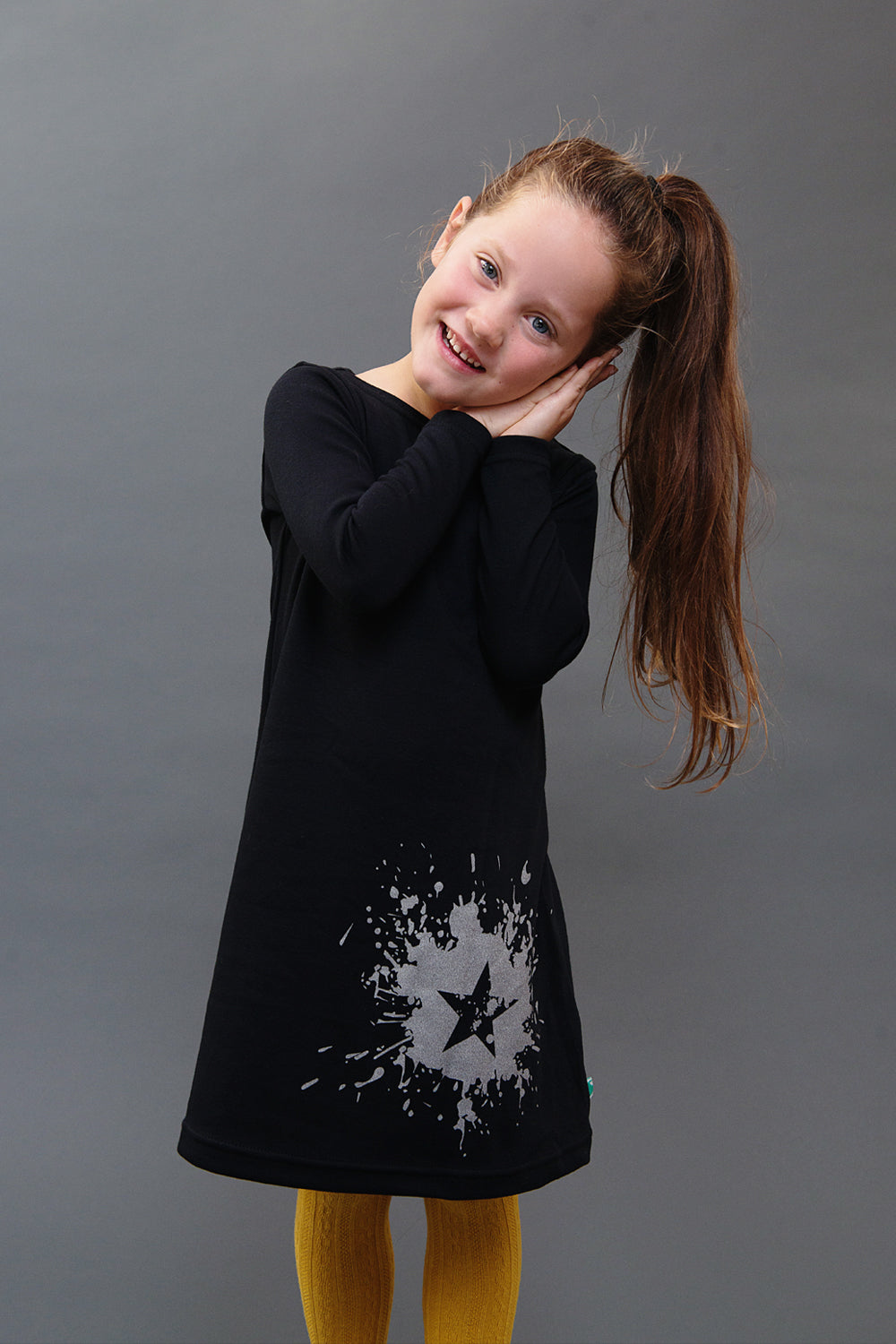 100% cotton, super soft black star splat dress. Made and designed in Britain using chemical free inks