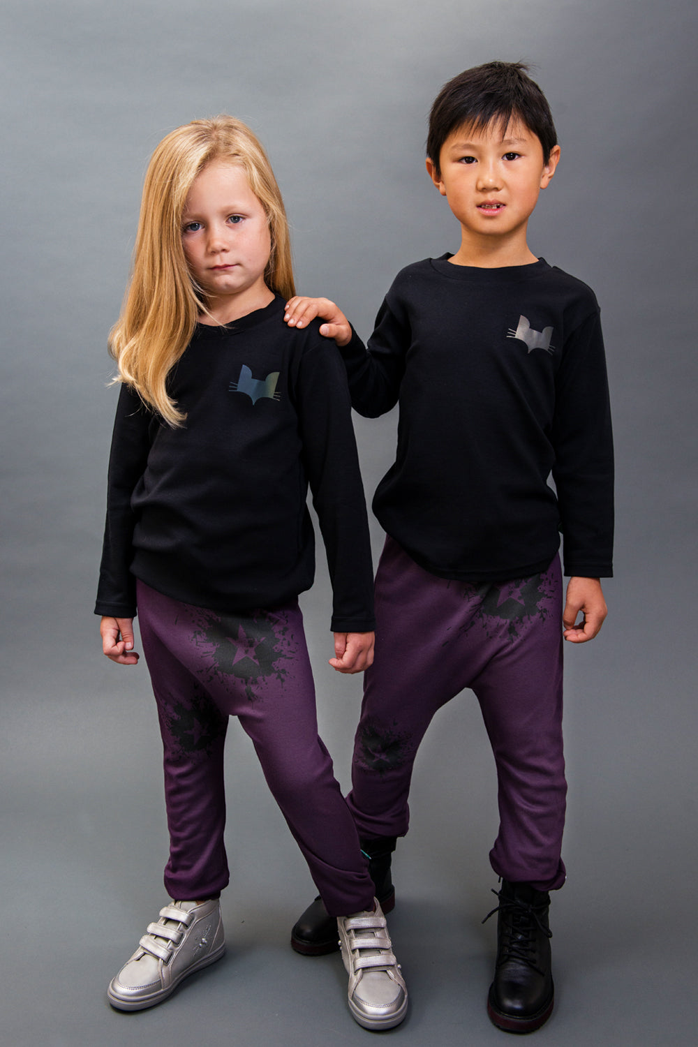 100% cotton, unisex punchy plum Joggers. Made and designed in Britain using chemical free inks.