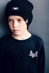 One size black beanie hat with logo small fox head design label detail, suitable for adults and children alike