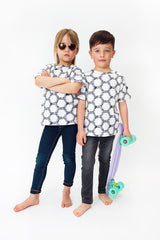 Monochrome t-shirt for both boys and girls, made in Britain