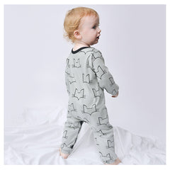 unisex organic baby romper sizes 0 to 18 months in brand logo fox head design