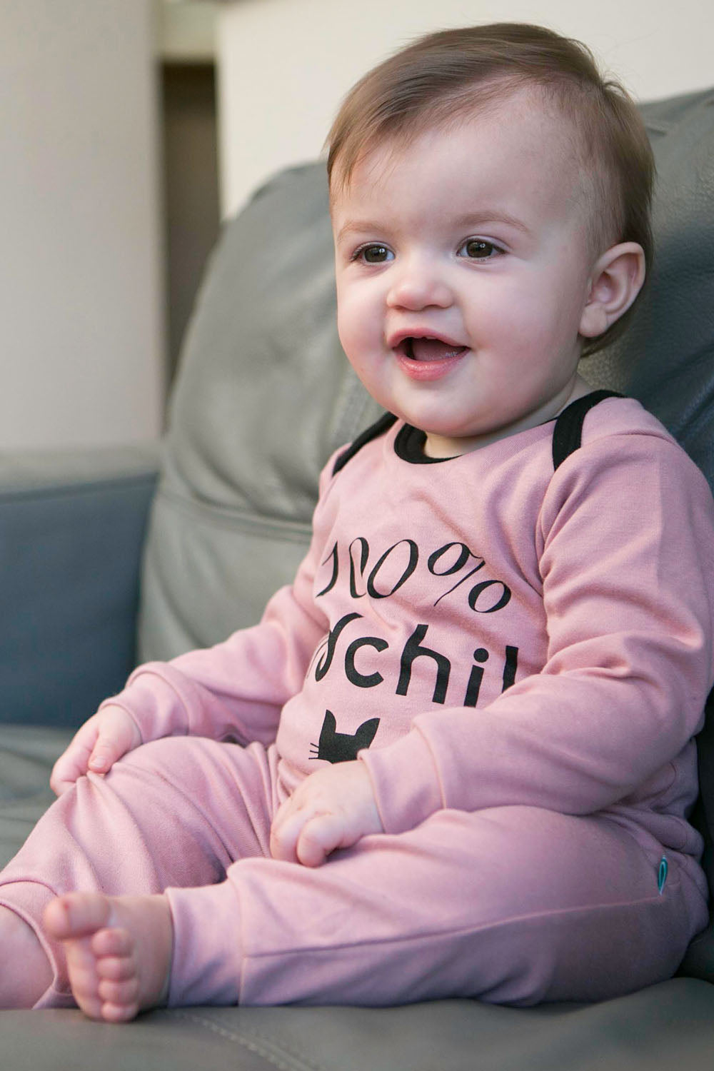 100% cotton baby romper. made in Britain using chemical free inks.