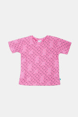 Unisex Multi fox head design organic cotton t-shirt - pink