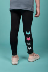 Coloured Fox Head design Black leggings