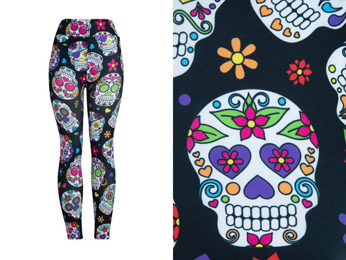 Natopia Ultimate Sugar Skulls Leggings One Size Fits 8-14 - natopia
