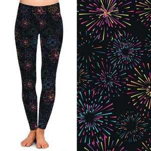 Natopia Deluxe Midnight Fireworks Leggings Curvy Plus Size Fits Size 16-20