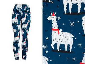Natopia Ultimate Christmas Llama Leggings Curvy Plus Size Fits Size 16-22