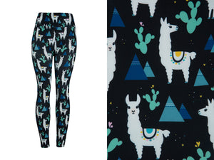 Natopia Ultimate Llamas and Cactus Leggings One Size Fits 8-14