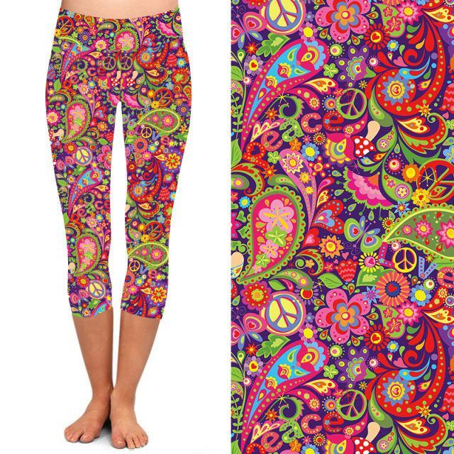 Natopia Deluxe Peace Out Paisley Capri Curvy Plus Size Fits 16-20