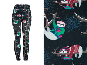 Natopia Ultimate Festive Sloth Leggings Curvy Plus Size Fits Size 16-22