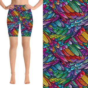 Natopia Deluxe Rainbow Feathers Shorts Extra Curvy Fits 22-26