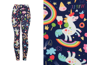 Natopia Unicorns and Ice Cream Leggings One Size Fits 8-14