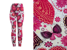 Natopia Super Soft Pink Butterfly Leggings Curvy Plus Size Fits Size 16-22