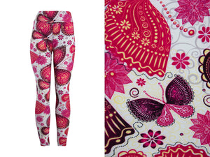 Natopia Super Soft Pink Butterfly Leggings Curvy Plus Size Fits Size 16-22 - natopia