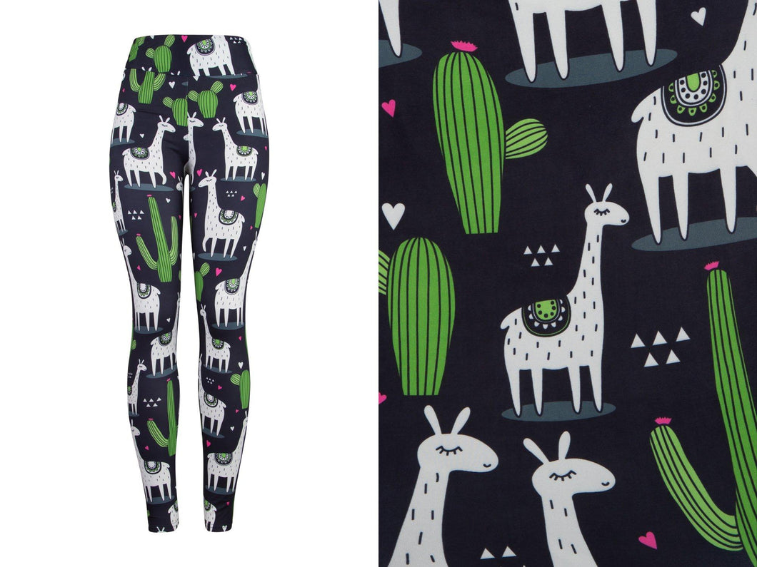 Natopia Deluxe Llamas In The Night Leggings One Size Fits 8-14