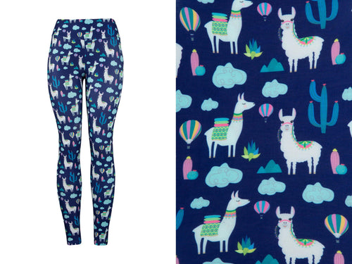 Natopia Deluxe Llamas In The Clouds Leggings One Size Fits 8-14