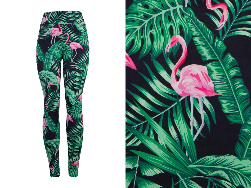 Natopia Deluxe Flamingos in the Ferns Leggings Curvy Plus Size Fits 16-20