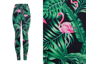 Natopia Deluxe Flamingos in the Ferns Leggings One Size Fits 8-14