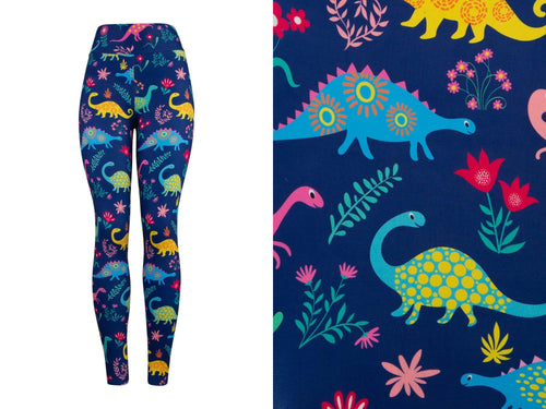 Natopia Deluxe Happy Dinosaur Leggings Curvy Plus Size Fits 16-20