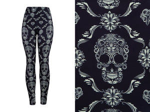 Natopia Deluxe Skulls Of Elegance Leggings Curvy Plus Size Fits 16-22