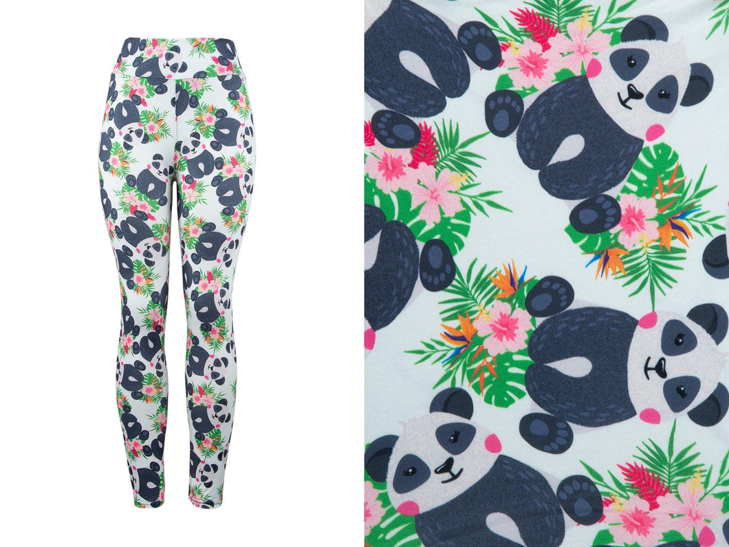 Natopia Deluxe Panda in the Palms Leggings One Size Fits 8-14