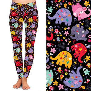 Natopia Deluxe For the Love of Elephants Leggings Extra Curvy Fits Size 22-26
