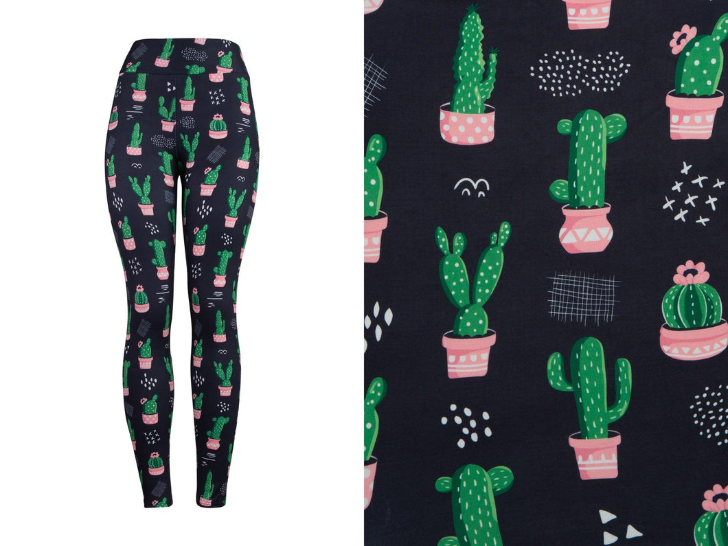 Natopia Deluxe Cactus Cuteness Leggings One Size Fits 8-14