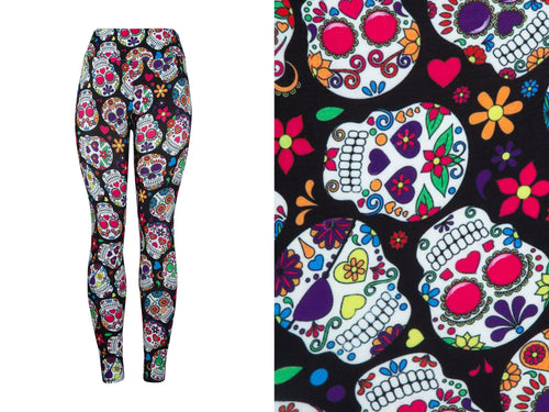 Natopia Deluxe Colour Skull Leggings One Size Fits 8-14 Exclusive Print
