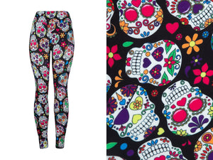 Natopia Deluxe Colour Skull Leggings Plus Size Fits 16-20