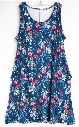 Natopia Blue Floral Tank Dress Fits 8-12