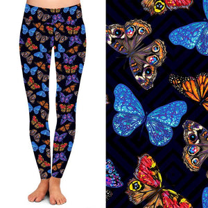 Natopia Deluxe Midnight Butterfly Leggings Curvy Plus Size Fits 16-20