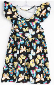 Natopia Flight of Butterflies Flutter Sleeve Dress Kids Small (4-6 Years)