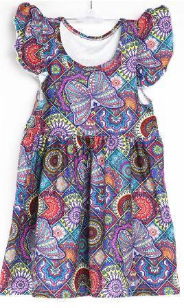 Natopia Butterfly on Mandala Flutter Sleeve Dress Kids Medium (6-8 Years)