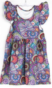 Natopia Butterfly on Mandala Flutter Sleeve Dress Kids Small (4-6 Years)