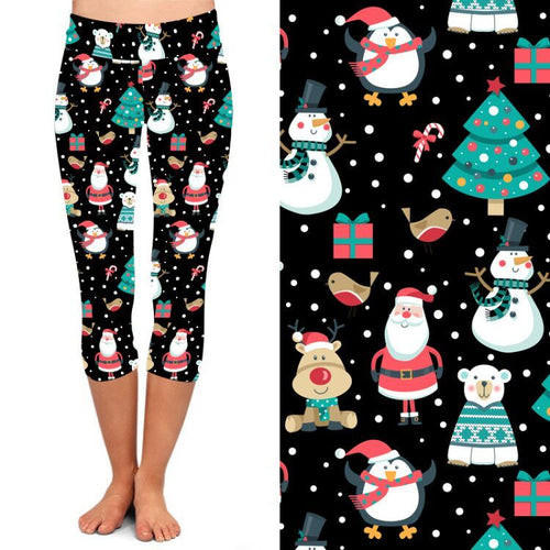 PRE-ORDER Natopia Deluxe Santa Is Coming Capri Leggings Plus Size Fits 16-20