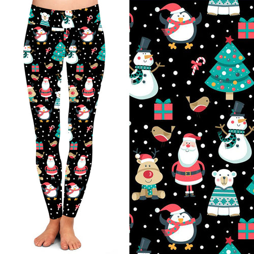 Natopia Deluxe Santa Is Coming Leggings Extra Curvy Plus Size Fits 22-26