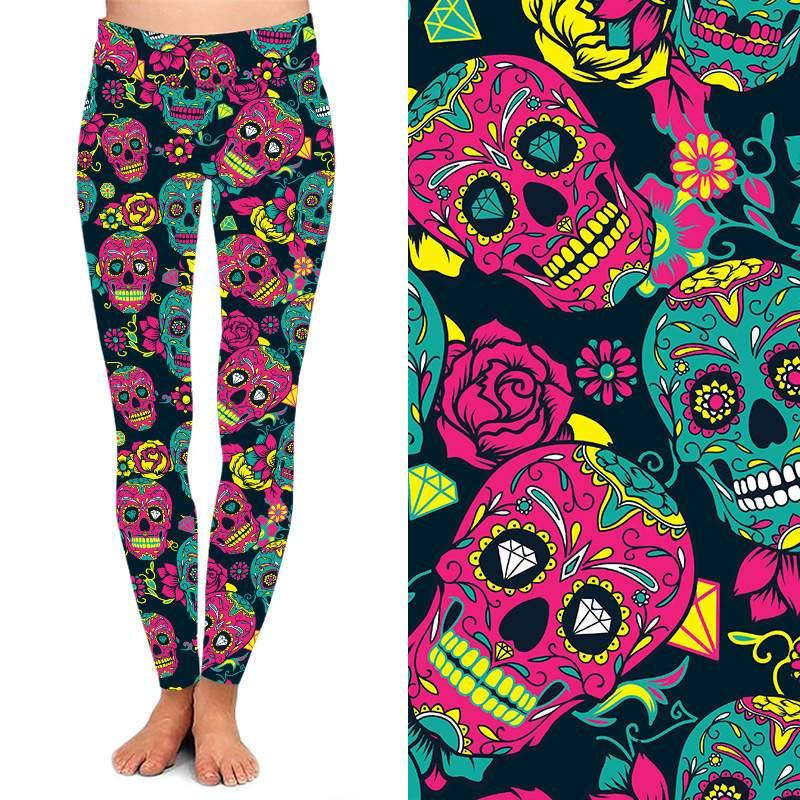 Natopia Deluxe Day of the Dead Fred Leggings Curvy Plus Size Fits 16-20