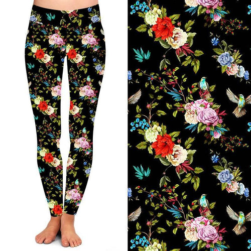 Natopia Deluxe Floral Flutter Leggings One Size Fits 8-14