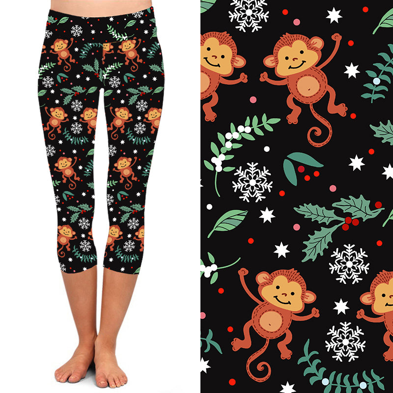 Natopia Deluxe The Funky Christmas Monkey Capri  Extra Curvy Plus Size Fits 22-26