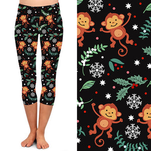 Natopia Deluxe The Funky Christmas Monkey Capri   Plus Size Fits 16-20