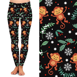 Natopia Deluxe The Funky Christmas Monkey Leggings Plus Size Fits 16-20