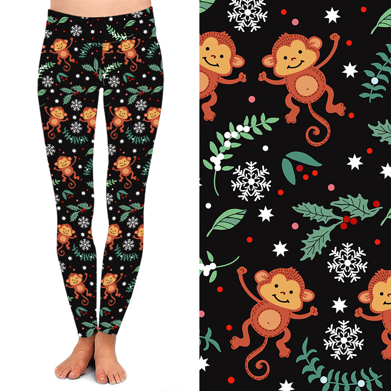 Natopia Deluxe The Funky Christmas Monkey Leggings One Size Fits 8-14