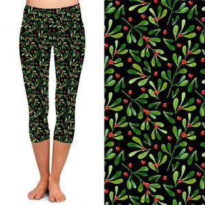 PRE-ORDER Natopia Deluxe A Berry Merry Christmas Capri Leggings Plus Size Fits 16-20
