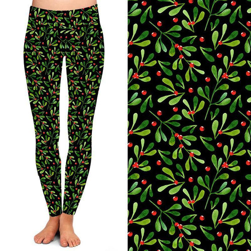 Natopia Deluxe A Berry Merry Christmas Leggings Plus Size Fits 16-20